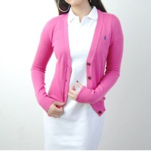 Ralph Lauren Pink Button Down Cardigan Sweater LG